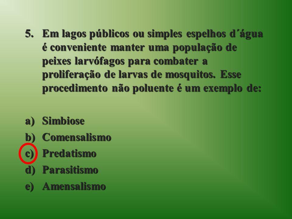 Em lagos públicos ou simples espelhos d´água é conveniente manter uma população de peixes larvófagos para combater a proliferação de larvas de mosquitos. Esse procedimento não poluente é um exemplo de: