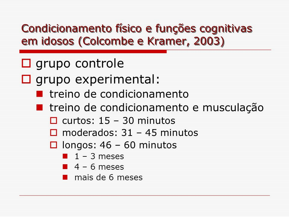 grupo controle grupo experimental: