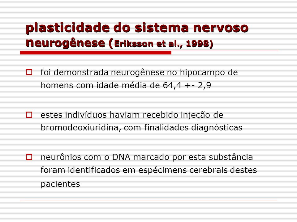 plasticidade do sistema nervoso neurogênese (Eriksson et al., 1998)