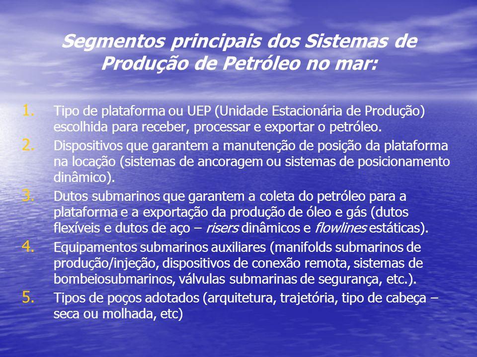 Segmentos principais dos Sistemas de Produção de Petróleo no mar: