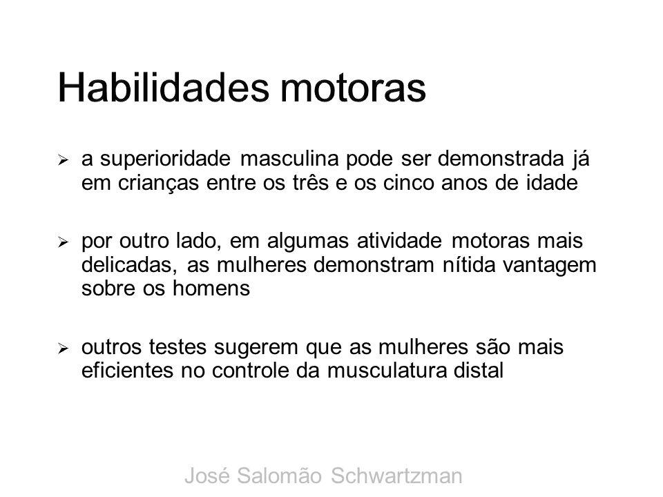 Habilidades motoras a superioridade masculina pode ser demonstrada já em crianças entre os três e os cinco anos de idade.