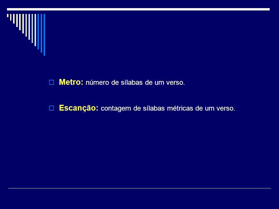 Metro: número de sílabas de um verso.