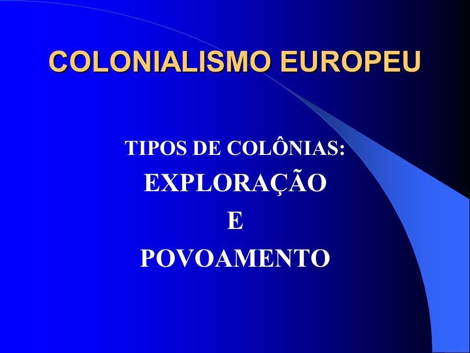 COLONIALISMO EUROPEU TIPOS DE COLÔNIAS: EXPLORAÇÃO E POVOAMENTO