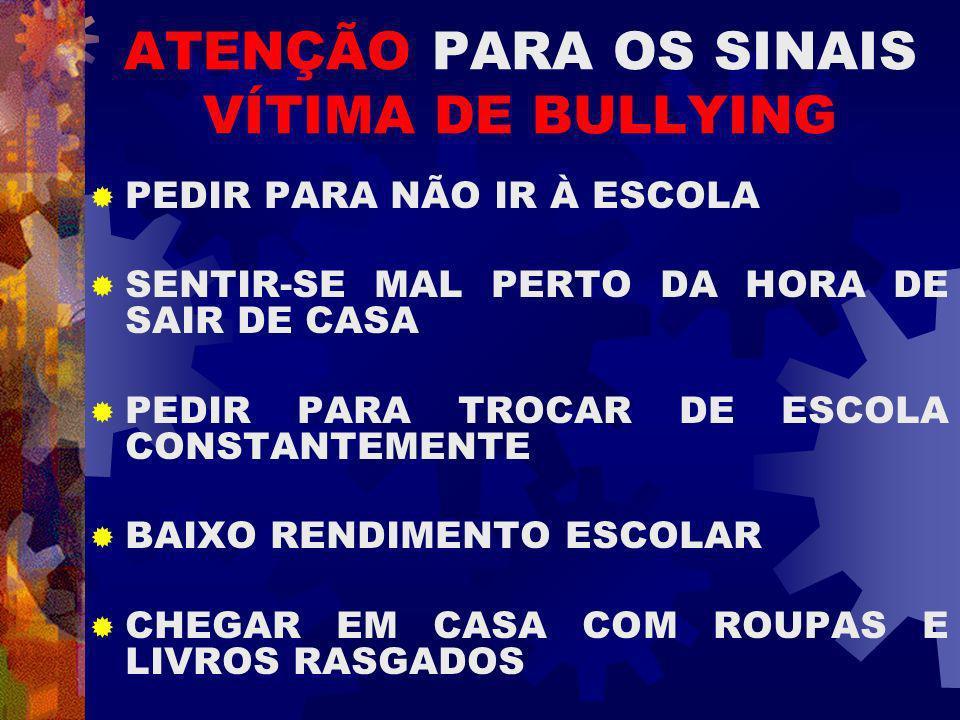 ATENÇÃO PARA OS SINAIS VÍTIMA DE BULLYING