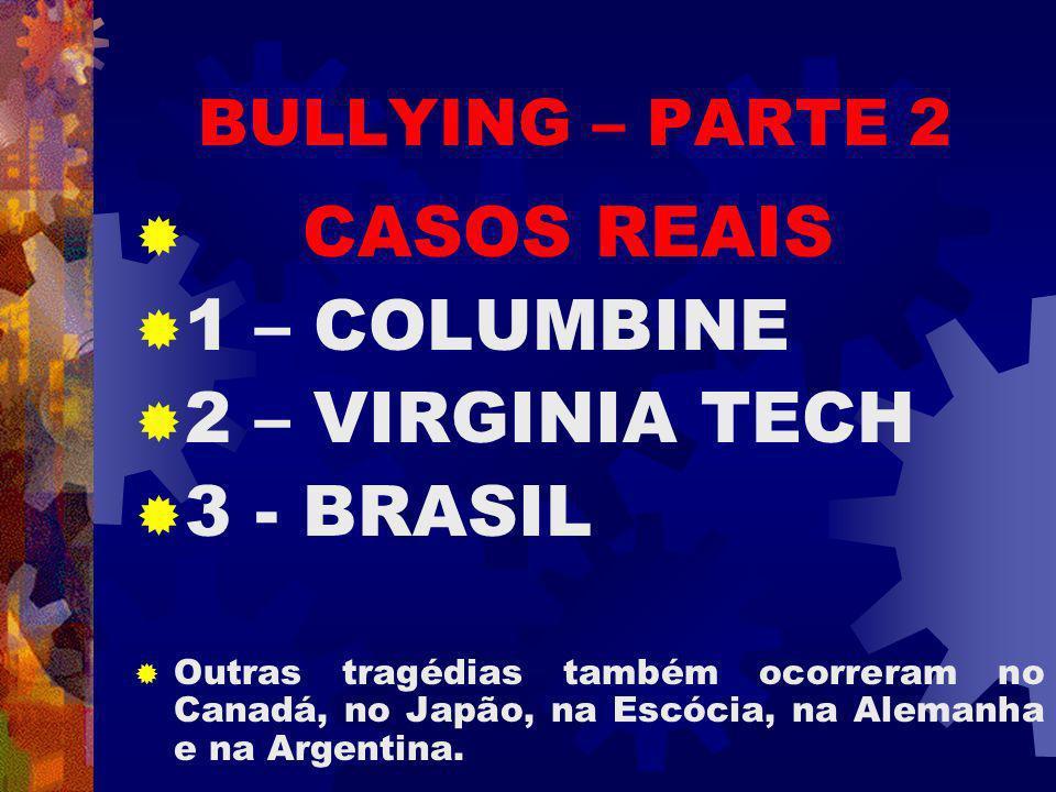 CASOS REAIS 1 – COLUMBINE 2 – VIRGINIA TECH 3 - BRASIL