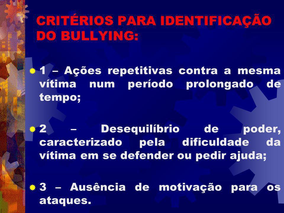 CRITÉRIOS PARA IDENTIFICAÇÃO DO BULLYING: