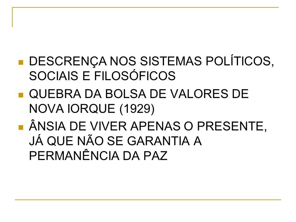 DESCRENÇA NOS SISTEMAS POLÍTICOS, SOCIAIS E FILOSÓFICOS