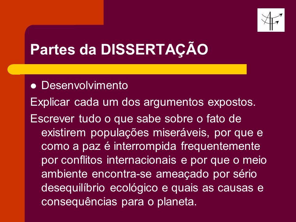 Partes da DISSERTAÇÃO Desenvolvimento