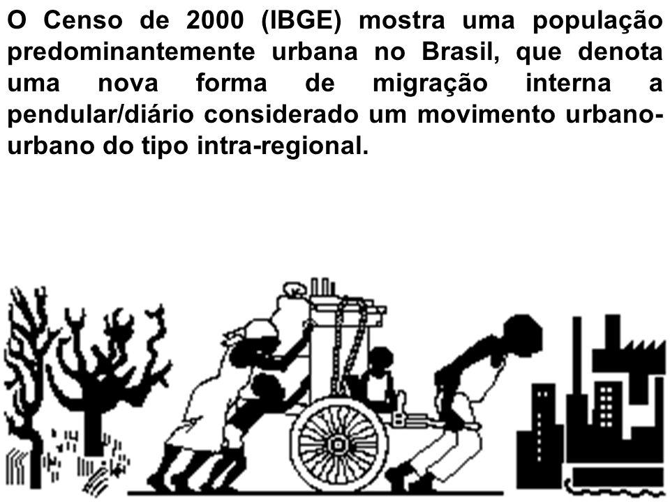 O Censo de 2000 (IBGE) mostra uma população predominantemente urbana no Brasil, que denota uma nova forma de migração interna a pendular/diário considerado um movimento urbano-urbano do tipo intra-regional.