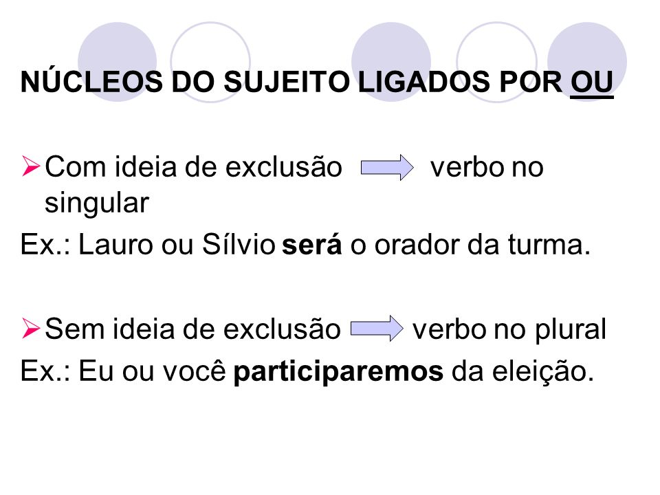 NÚCLEOS DO SUJEITO LIGADOS POR OU