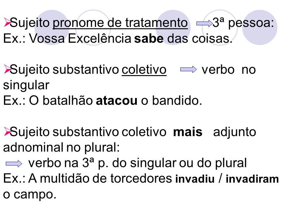 Sujeito pronome de tratamento 3ª pessoa: Ex
