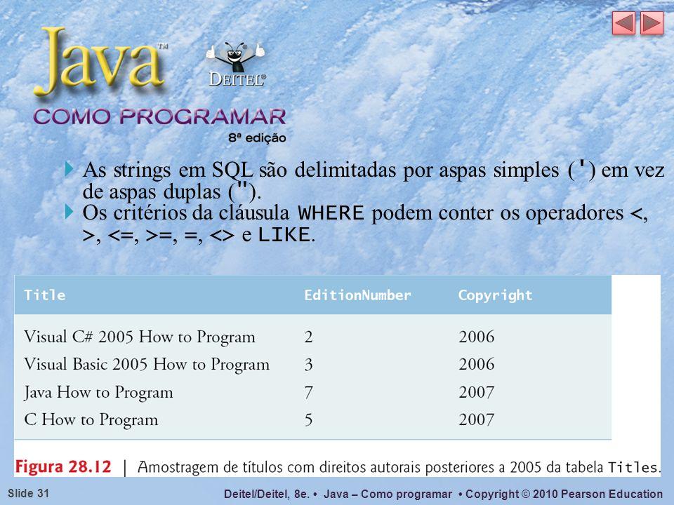 As strings em SQL são delimitadas por aspas simples ( ) em vez de aspas duplas ( ).