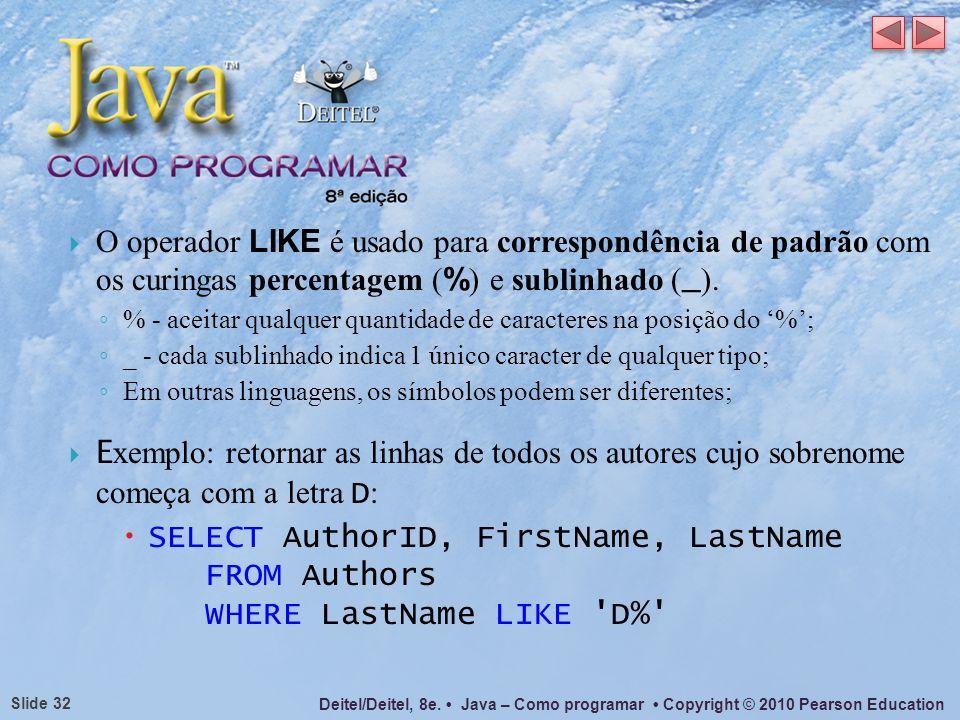 O operador LIKE é usado para correspondência de padrão com os curingas percentagem (%) e sublinhado (_).