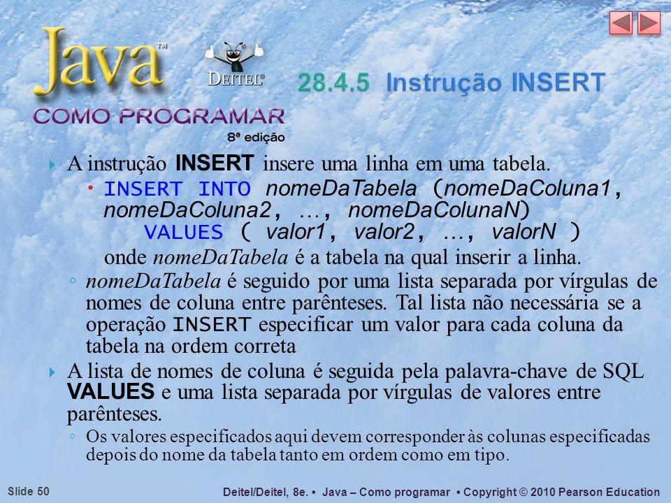 28.4.5 Instrução INSERT A instrução INSERT insere uma linha em uma tabela.