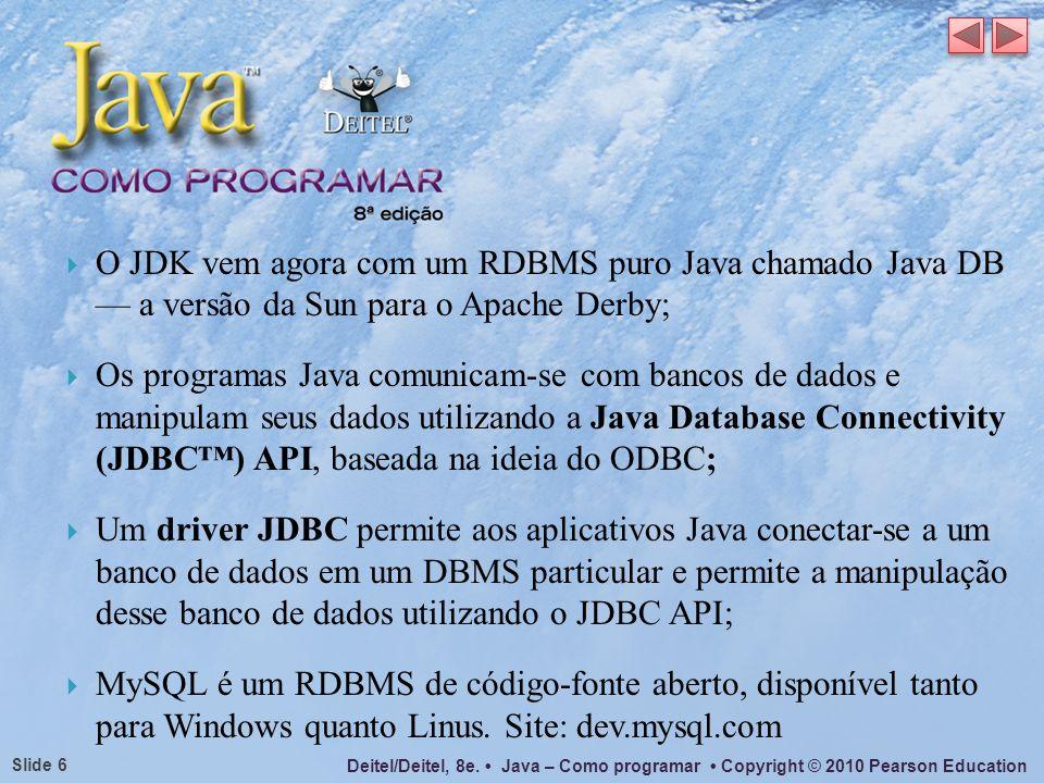 O JDK vem agora com um RDBMS puro Java chamado Java DB — a versão da Sun para o Apache Derby;