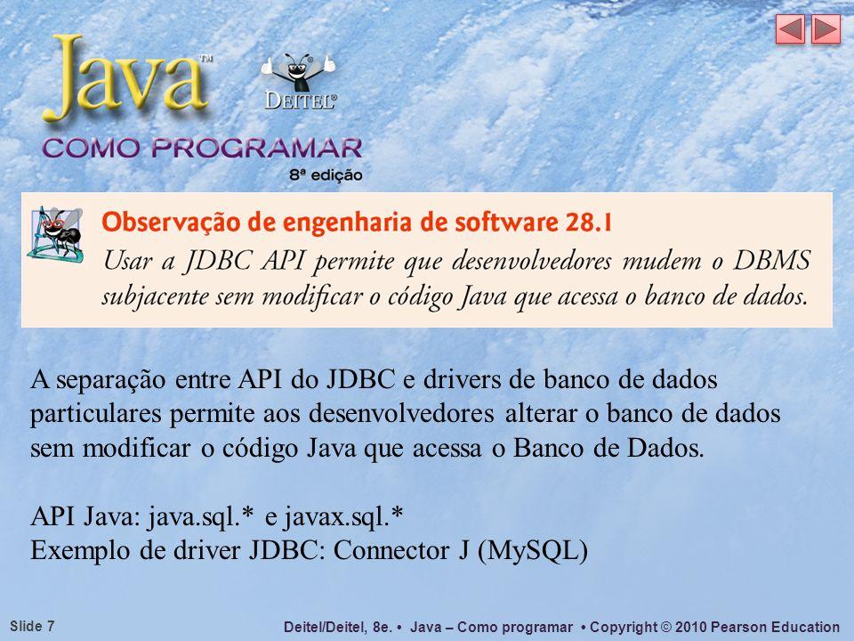 A separação entre API do JDBC e drivers de banco de dados particulares permite aos desenvolvedores alterar o banco de dados sem modificar o código Java que acessa o Banco de Dados.