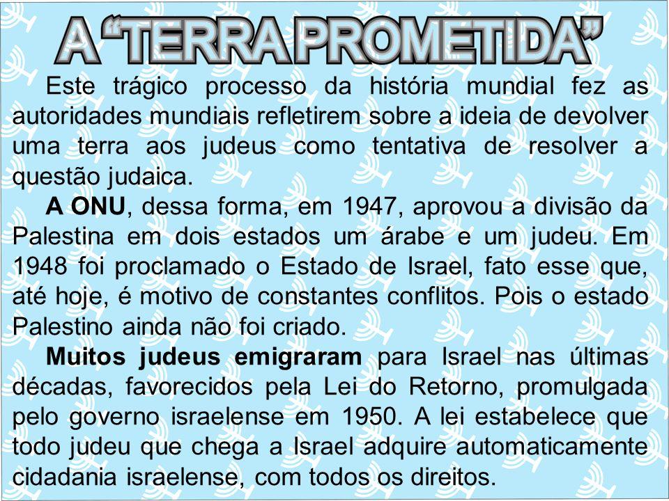 Este trágico processo da história mundial fez as autoridades mundiais refletirem sobre a ideia de devolver uma terra aos judeus como tentativa de resolver a questão judaica.