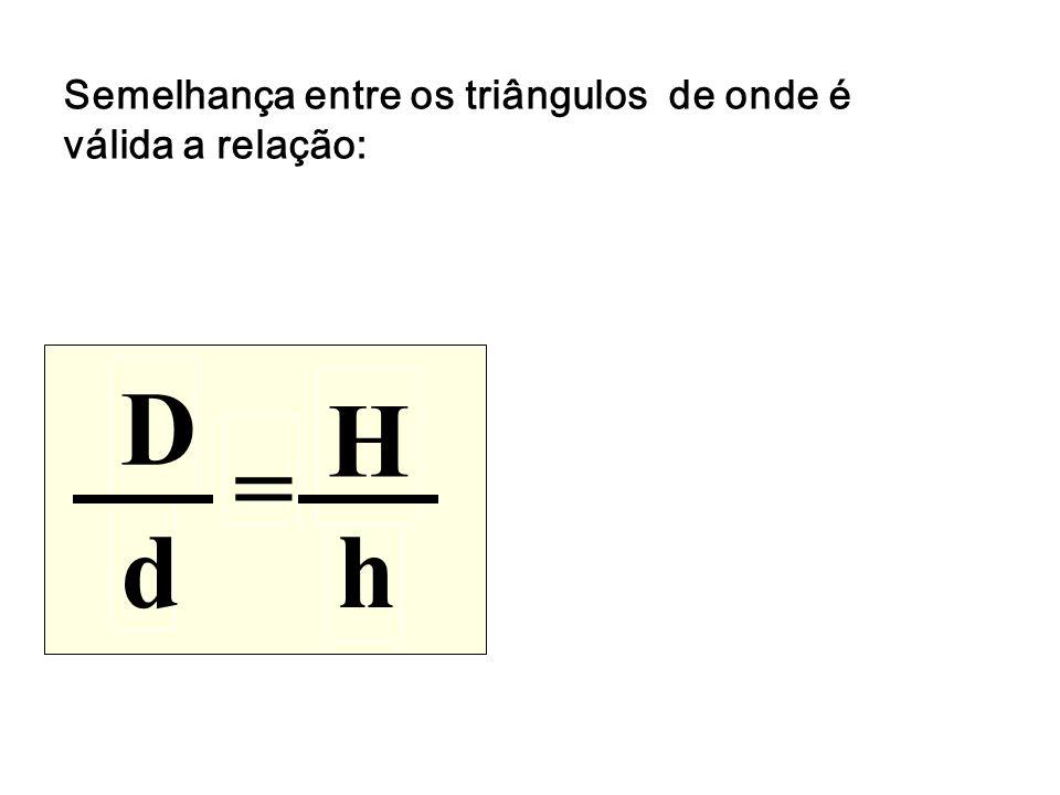 Semelhança entre os triângulos de onde é válida a relação:
