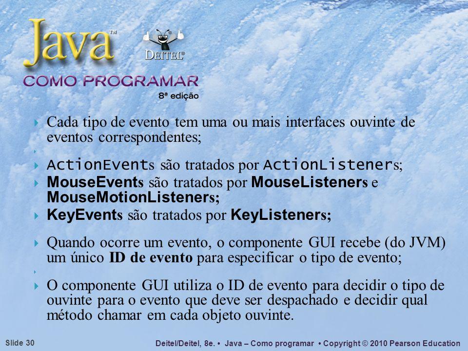Cada tipo de evento tem uma ou mais interfaces ouvinte de eventos correspondentes;
