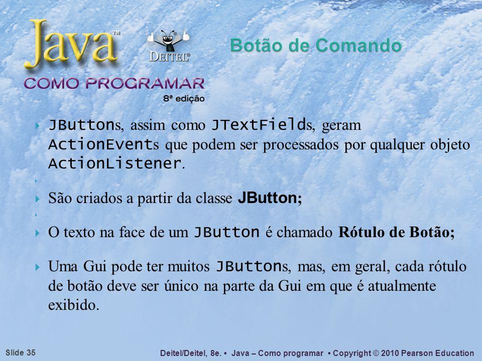 Botão de ComandoJButtons, assim como JTextFields, geram ActionEvents que podem ser processados por qualquer objeto ActionListener.
