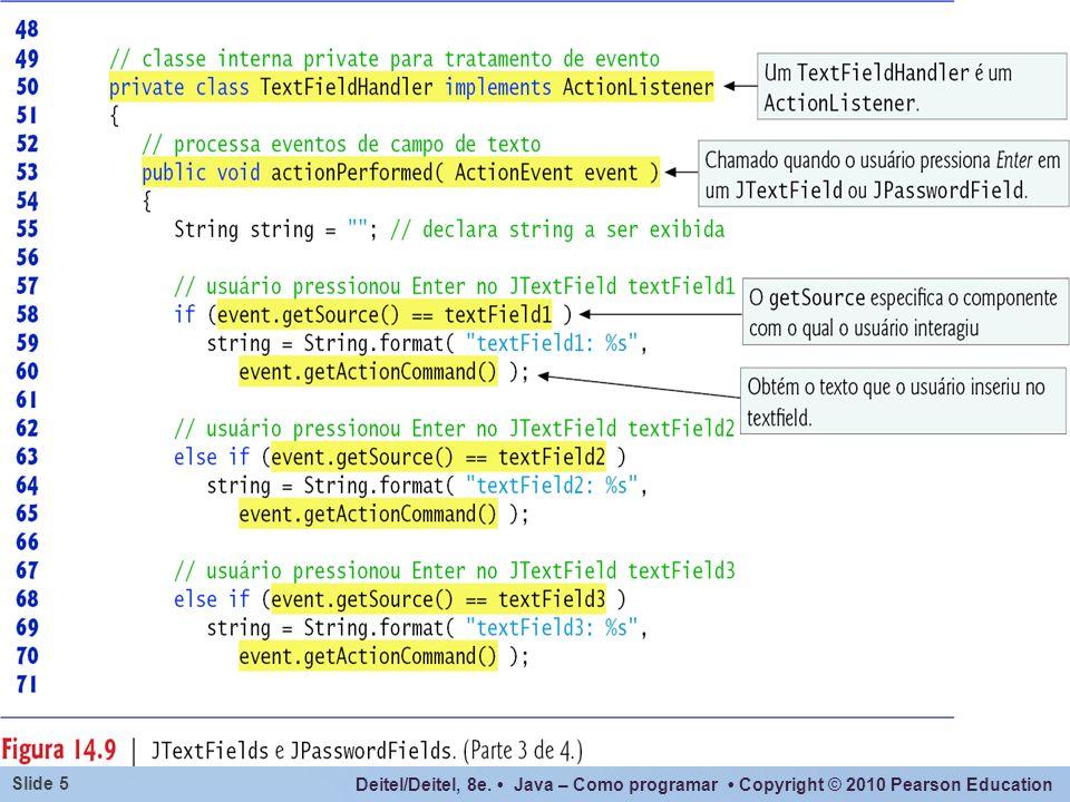 O método event.getActionCommand() acima poderia ser substituído por textFieldn.getText(), com o mesmo efeito.