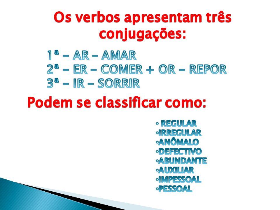 Os verbos apresentam três Podem se classificar como: