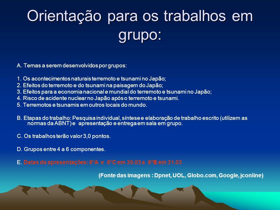 Orientação para os trabalhos em grupo: