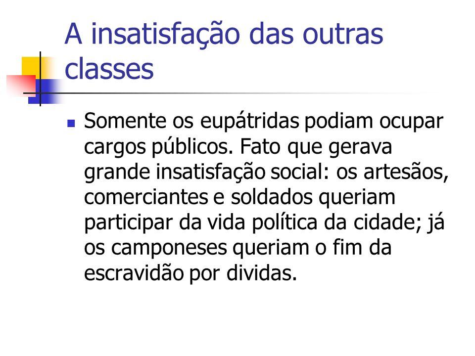 A insatisfação das outras classes