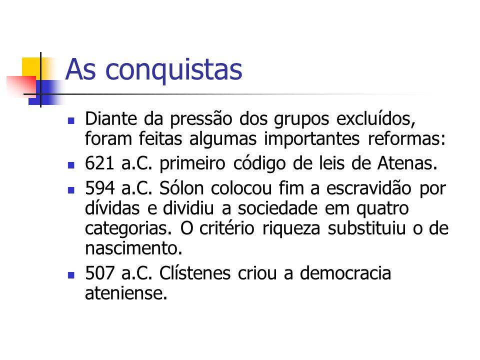 As conquistas Diante da pressão dos grupos excluídos, foram feitas algumas importantes reformas: 621 a.C. primeiro código de leis de Atenas.