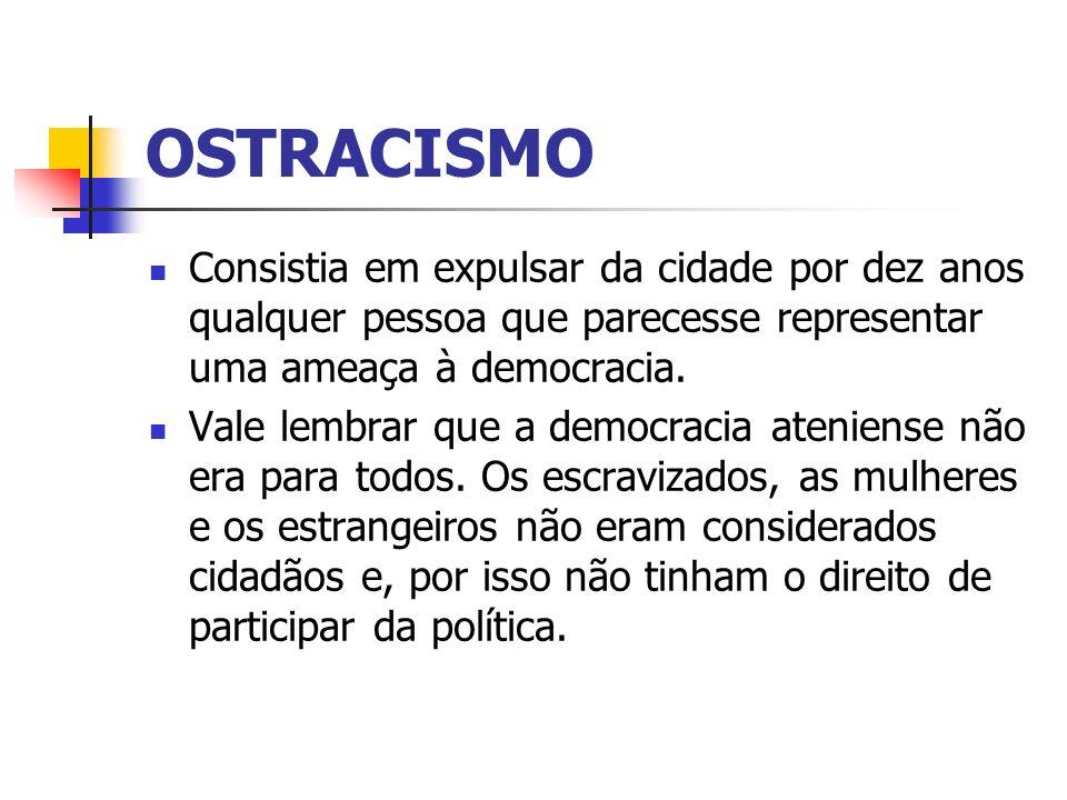 OSTRACISMO Consistia em expulsar da cidade por dez anos qualquer pessoa que parecesse representar uma ameaça à democracia.