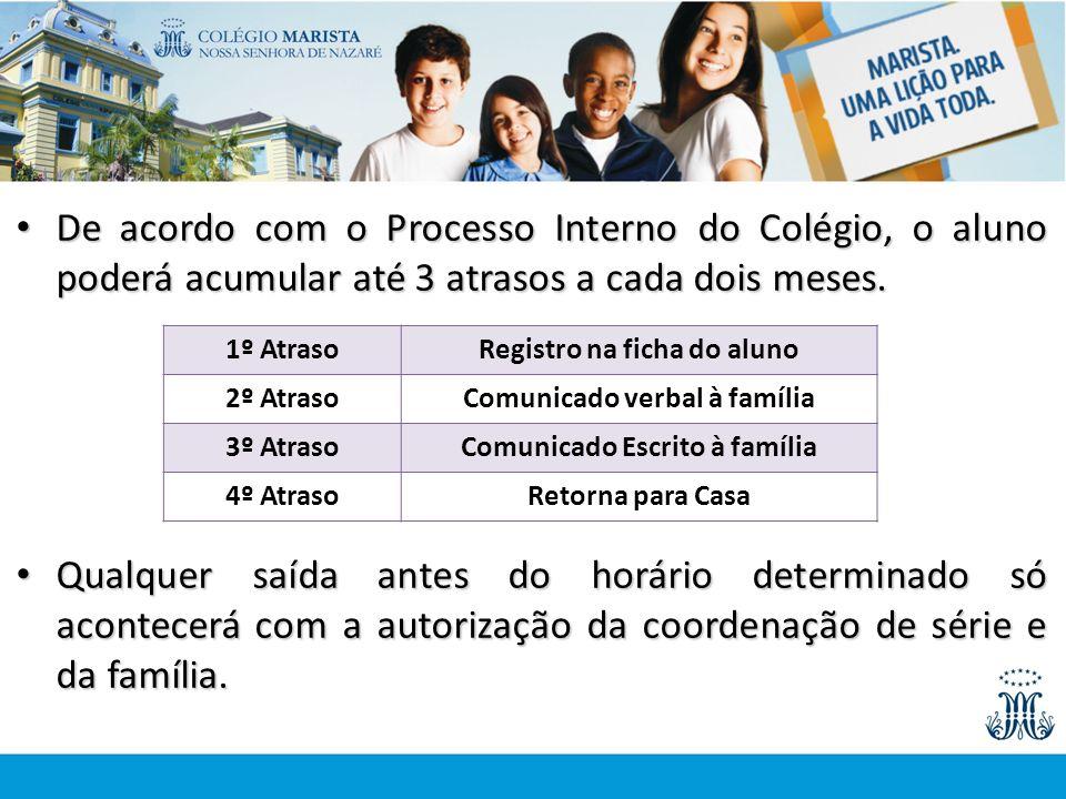 De acordo com o Processo Interno do Colégio, o aluno poderá acumular até 3 atrasos a cada dois meses.