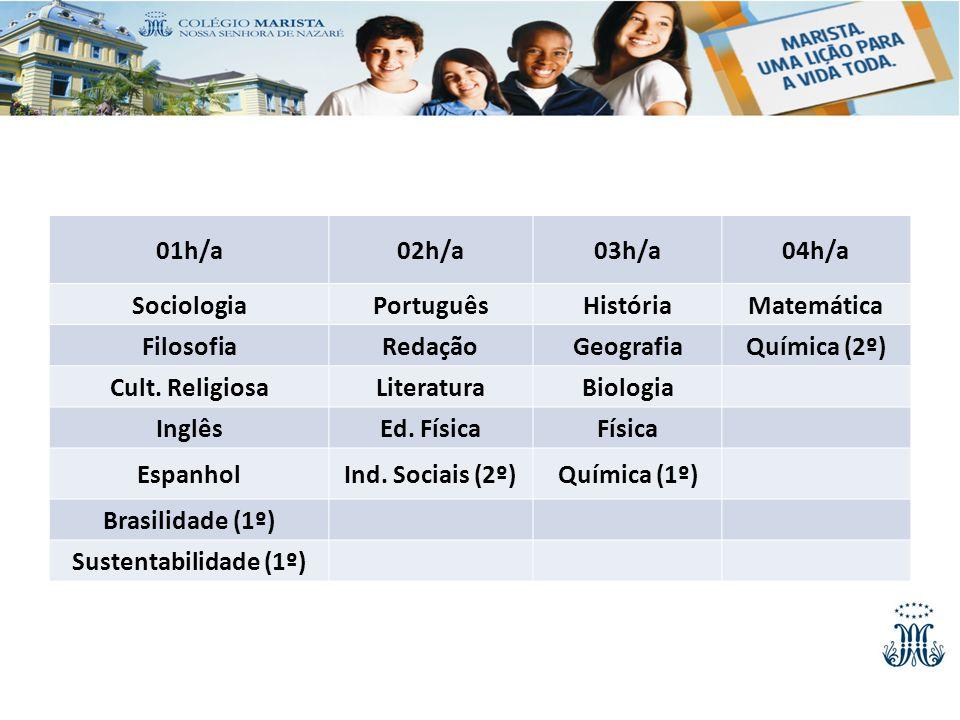 01h/a 02h/a. 03h/a. 04h/a. Sociologia. Português. História. Matemática. Filosofia. Redação.