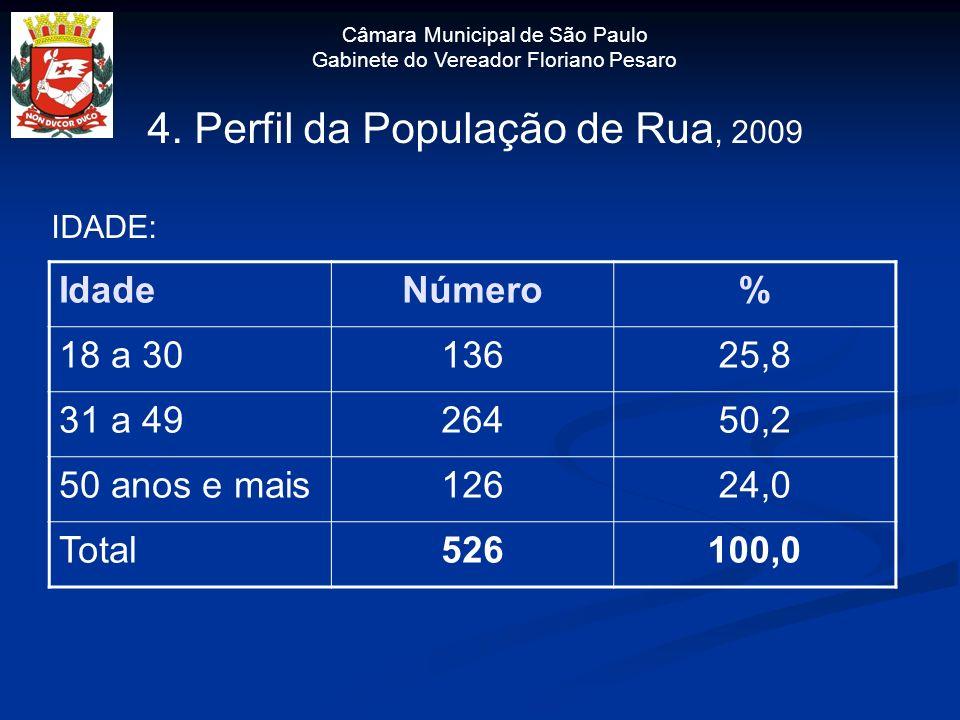 4. Perfil da População de Rua, 2009 IDADE: