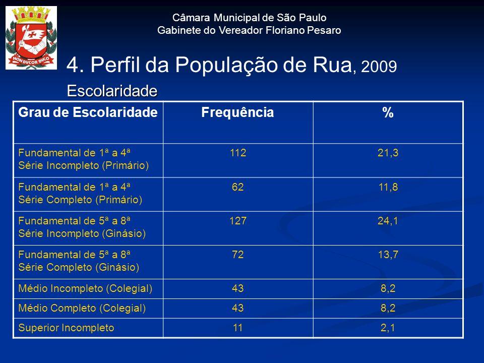 4. Perfil da População de Rua, 2009 Escolaridade