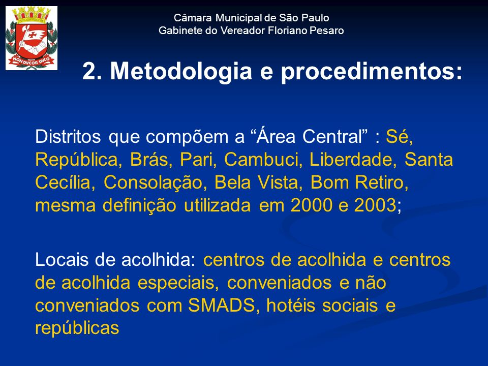 2. Metodologia e procedimentos: