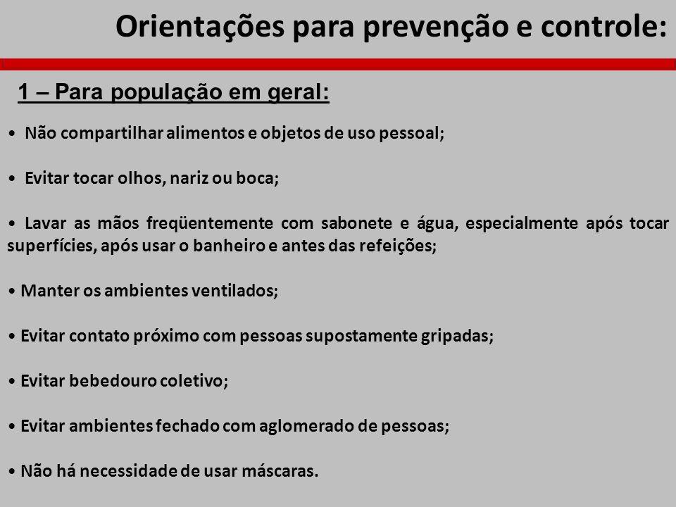 Orientações para prevenção e controle: