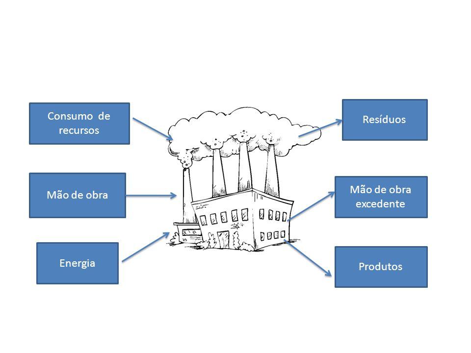 Resíduos Consumo de recursos Mão de obra Mão de obra excedente Energia Produtos