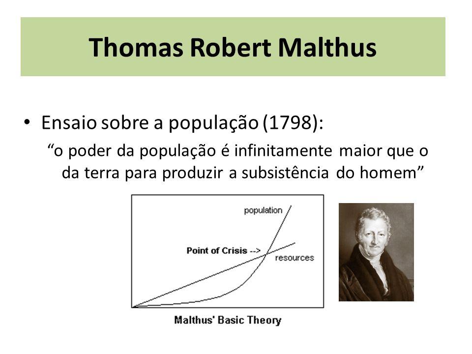 Thomas Robert Malthus Ensaio sobre a população (1798):