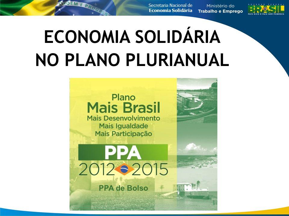 ECONOMIA SOLIDÁRIA NO PLANO PLURIANUAL
