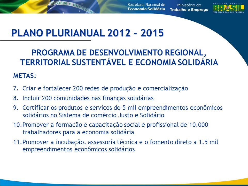 PLANO PLURIANUAL 2012 - 2015 PROGRAMA DE DESENVOLVIMENTO REGIONAL, TERRITORIAL SUSTENTÁVEL E ECONOMIA SOLIDÁRIA.