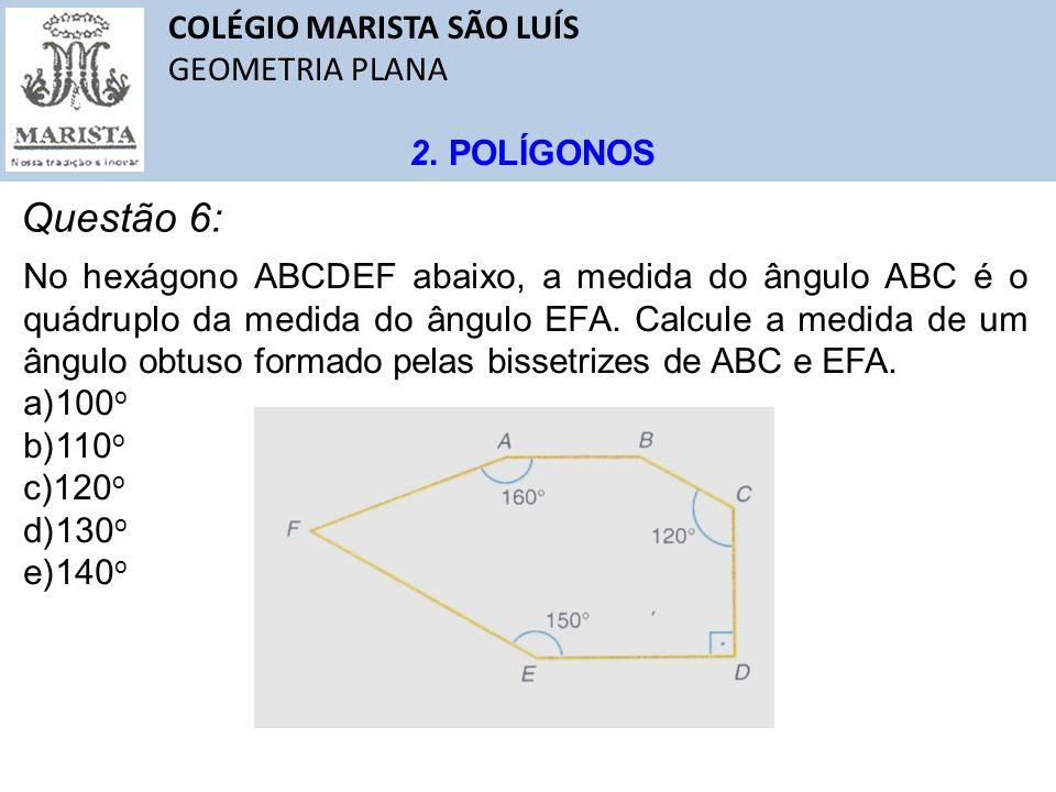Questão 6: COLÉGIO MARISTA SÃO LUÍS GEOMETRIA PLANA 2. POLÍGONOS
