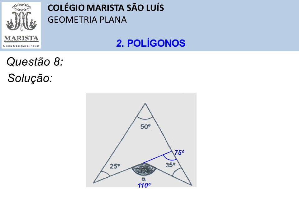 Questão 8: Solução: COLÉGIO MARISTA SÃO LUÍS GEOMETRIA PLANA