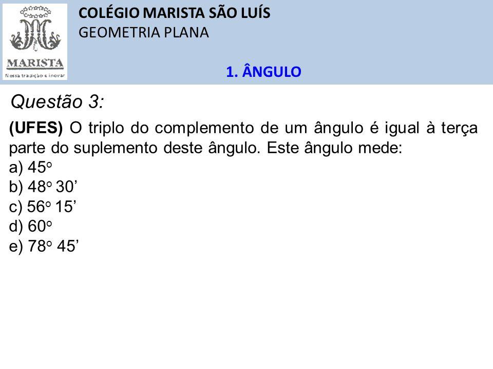 Questão 3: COLÉGIO MARISTA SÃO LUÍS GEOMETRIA PLANA 1. ÂNGULO