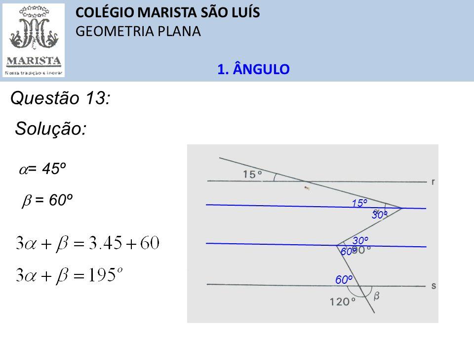 Questão 13: Solução: COLÉGIO MARISTA SÃO LUÍS GEOMETRIA PLANA