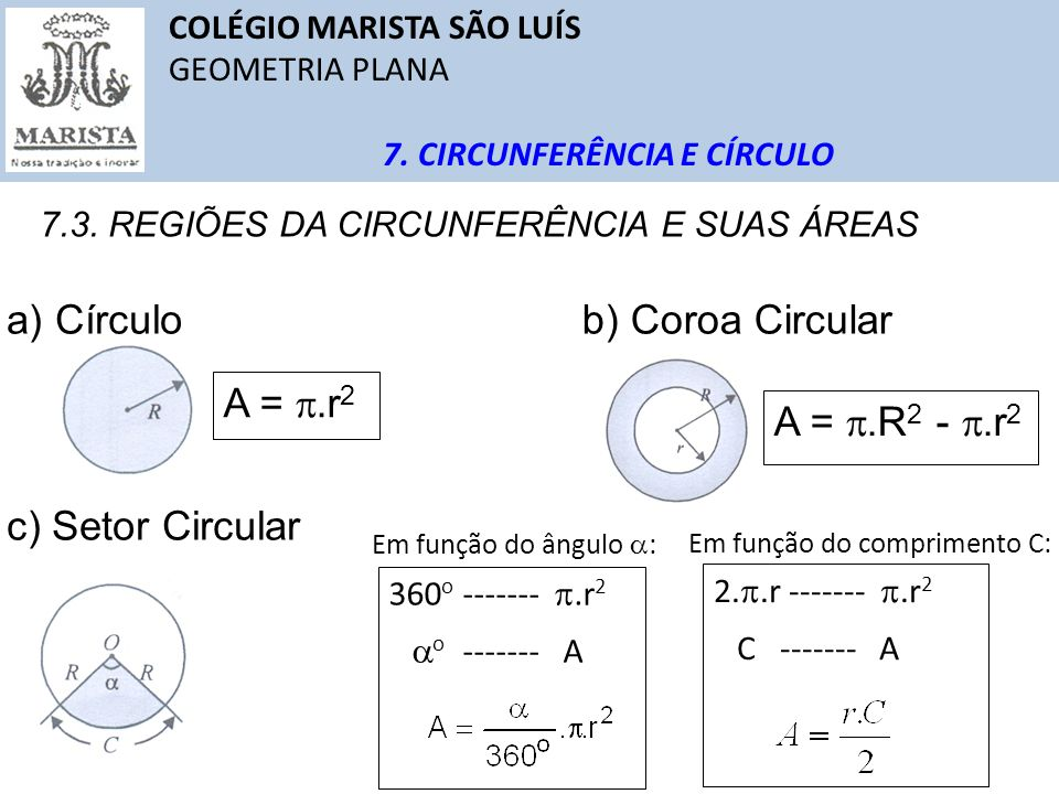 a) Círculo b) Coroa Circular A = .r2 A = .R2 - .r2