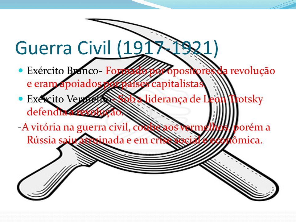 Guerra Civil (1917-1921) Exército Branco- Formado por opositores da revolução e eram apoiados por países capitalistas.