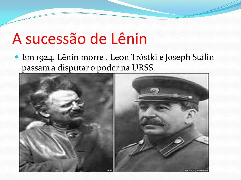 A sucessão de Lênin Em 1924, Lênin morre .