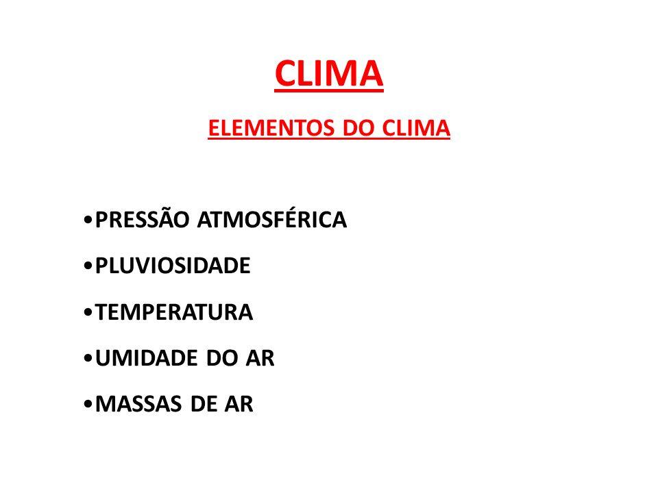 CLIMA ELEMENTOS DO CLIMA PRESSÃO ATMOSFÉRICA PLUVIOSIDADE TEMPERATURA