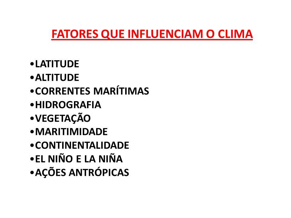 FATORES QUE INFLUENCIAM O CLIMA