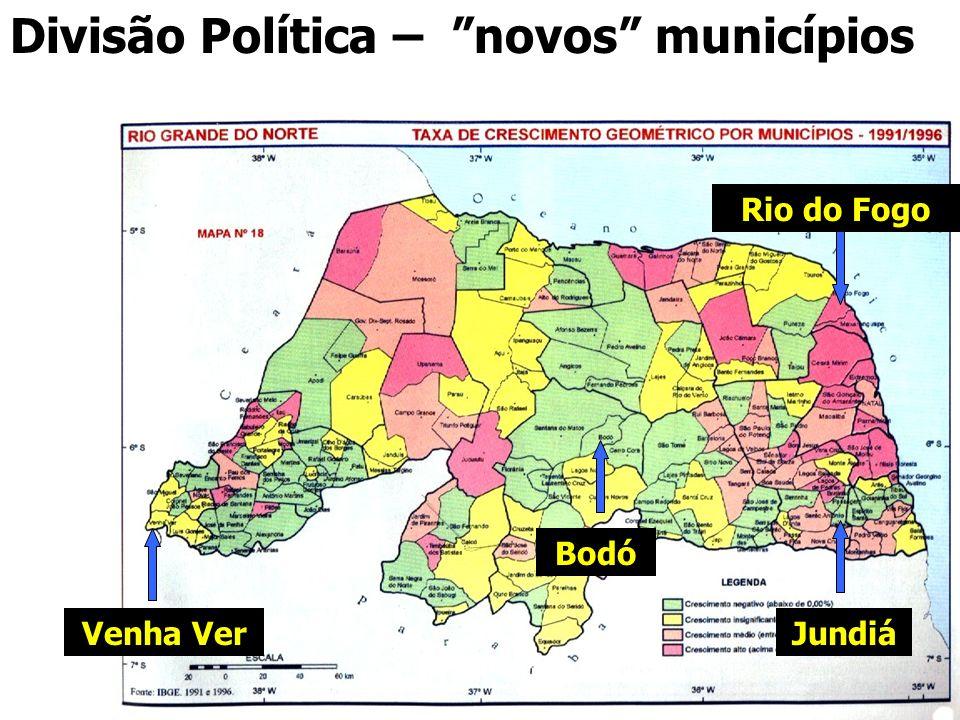Divisão Política – novos municípios